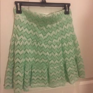 Lacy mini skirt in Mint